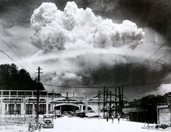 Atomic cloud over Nagasaki from Koyagi-jima