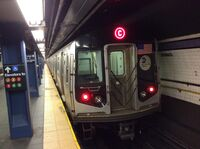 Southbound R160 C train ready to leave Fulton St