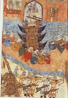 Persian painting of Hülegü's army attacking city with siege engine