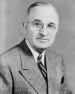 Harry S Truman, bw half-length photo portrait, facing front, 1945-crop