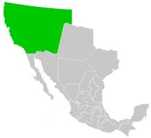 Map of Territorio de Alta California