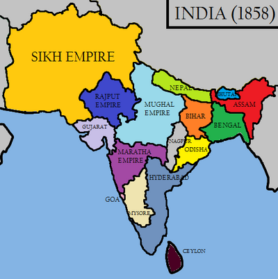 India in 1858 (Raj Karega Khalsa)