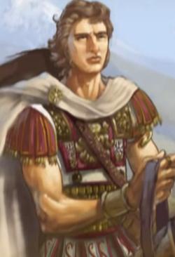 Alexandros the Great painting closeup