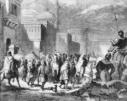 Muslim troops leaving Narbonne to Pepin le Bref in 759