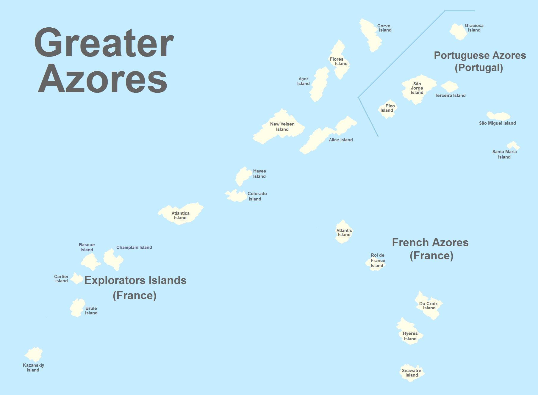 Greater Azores Atlantic Islands Alternative History FANDOM - Portugal map with azores