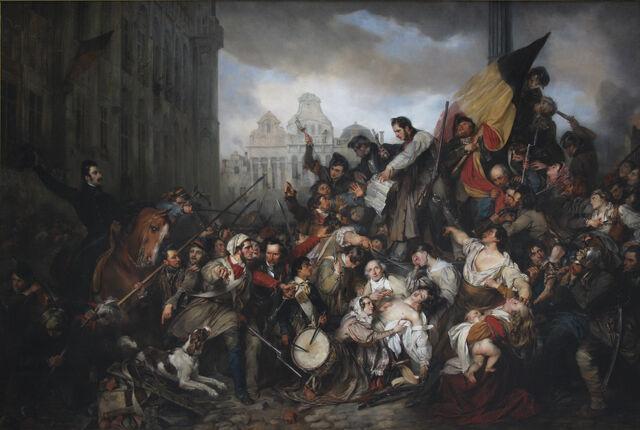 File:Wappers - Episodes from September Days 1830 on the Place de l'Hôtel de Ville in Brussels.jpg