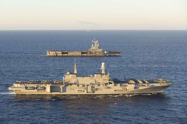 File:The Italian Aircraft Carrier Cavour and the French Aircraft Carrier Charles De Gaulle during Operation Unified Defender.jpg