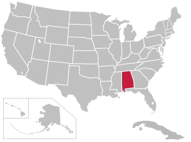 File:United States Map alabama highlight.png