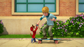 Alvin teaching The New Kid to skateboard.png