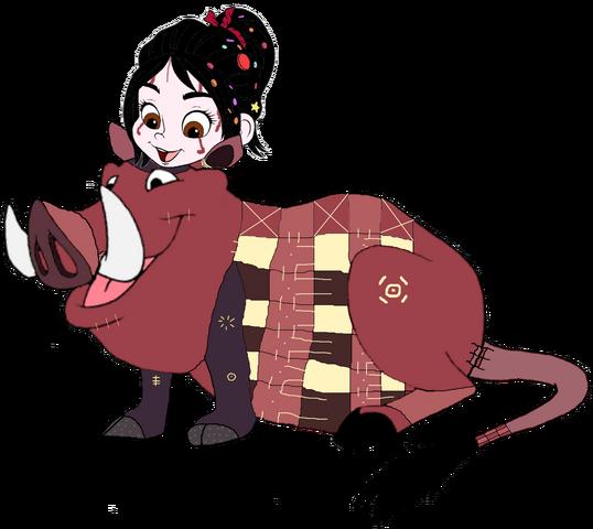 File:Vanellope dressed as Pumbaa 3.png
