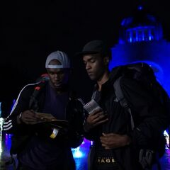 Darius & Cameron reading their first clue.
