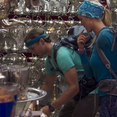 Adam &amp; Bethany doing the <i>Tea Time</i> Detour in <a href=