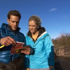 Max &amp; Katie reading the Roadblock clue in <a href=