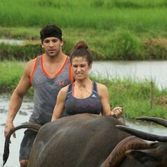Brooke & Robbie plowing a rice paddy in Leg 10.
