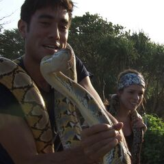 Zach &amp; Rachel carrying live snakes in <a href=