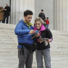 Max & Katie reading their clue in the final leg of the race.