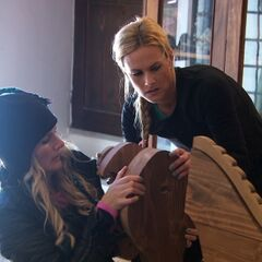 Caroline &amp; Jennifer doing the <i>Donkey Build</i> Detour in <a href=