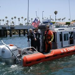 Misti &amp; Jim doing a Coast Guard Rescue Drill in the <a href=