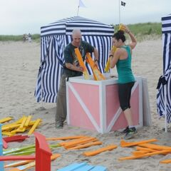 Justin & Diana about to set up Beach Chairs.