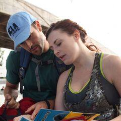 Brendon & Rachel reading a clue in Leg 2.