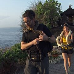Burnie &amp; Ashley carrying snakes in <a href=