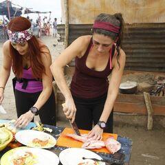 Erin &amp; Joslyn doing the <i>Parrilla</i> Detour in Leg 2.