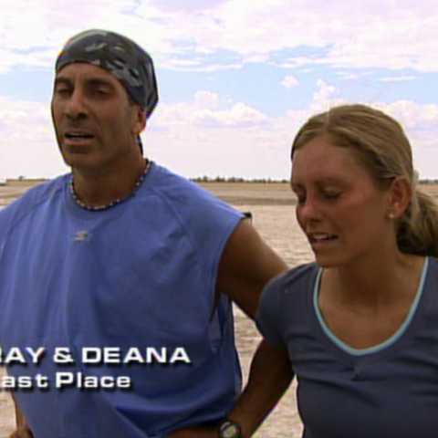 Ray & Deana were eliminated from the race in 7th place after losing in a footrace to Brian & Greg.