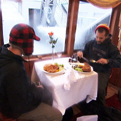 Zev &amp; Justin attempting the <i>Quick &amp; Easy Meal</i> in <a href=