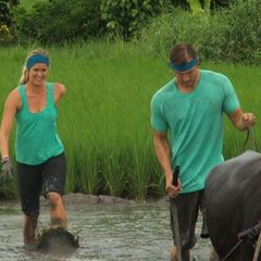 Adam & Bethany plowing though the rice paddy in Leg 10.