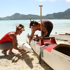 Mona &amp; Beth preparing their outrigger canoe during <a href=