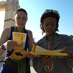 Amy &amp; Maya reading the Detour clue in <a href=