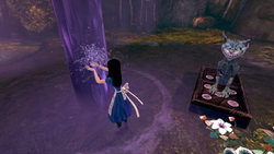 Alice bathing in the potion
