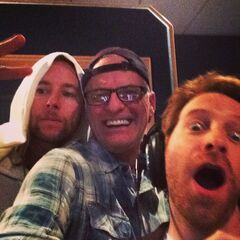 Rob with Seth Green and Greg Cipes.