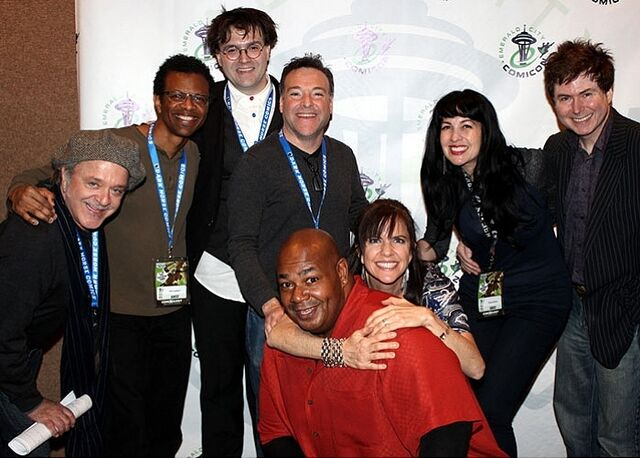 File:Jim Cummings, Phil LaMarr, Rikki Simons, Richard Horvitz, Kevin Michael Richardson, Jennifer Hale, Grey DeLisle, & Quinton Flynn - ECCC 2013.jpg
