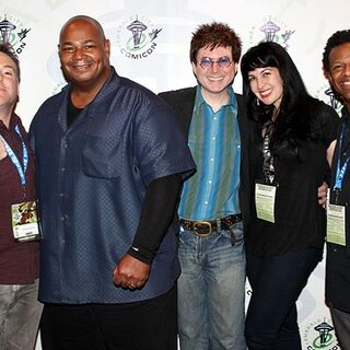 Quinton with Richard Horvitz, Kevin Michael Richardson, Grey DeLisle Griffin, and Phil LaMarr at the 2013 Emerald City Comicon.