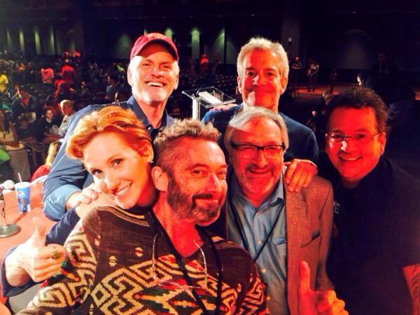 File:Rob Paulsen with Judith Hoag, Townsend Coleman, Cam Clarke, Barry Gordon, & Kevin Eastman.jpg - Alamo City Con 2014.jpg