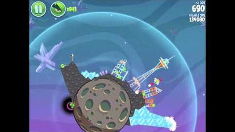 Angry Birds Space E-6 Fry Me to the Moon Golden Eggesteroid (Egg) 6 Walkthrough 3 star