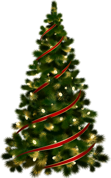 Image - Large Transparent Christmas Tree with Red Ribbon Clipart ...