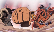 Crocodile Luffy and Jinbei in Impel Down