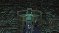 Ichigo, Rukia and Yoruichi at the entrance to the Senkaimon