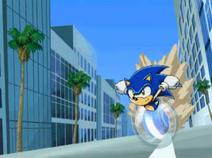 Sonic running in Sonic X