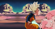 Kid buu kneed kid goten in the stomach