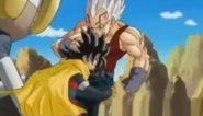 Baby vegea grabs hero by the hair kneed him in the stomach2