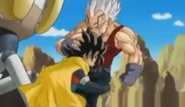 Baby vegea grabs hero by the hair kneed him in the stomach
