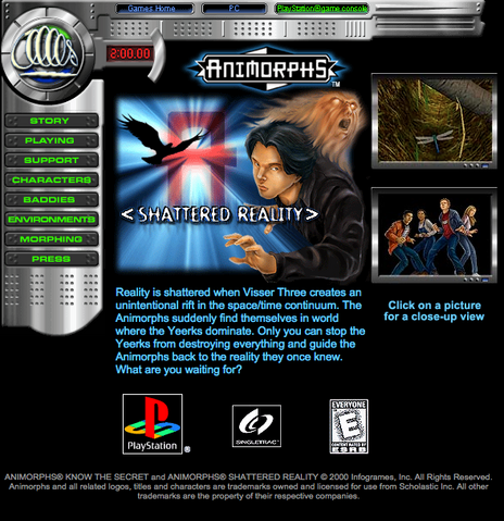 File:Animorphs shattered reality game on scholastic web site.png