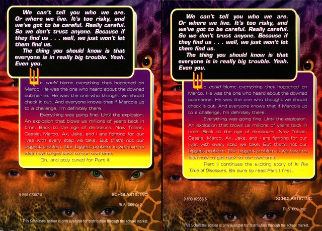 File:Animorphs megamorphs 2 mm2 time of dinosaurs scholastic edition parts 1 and 2 back cover.jpg