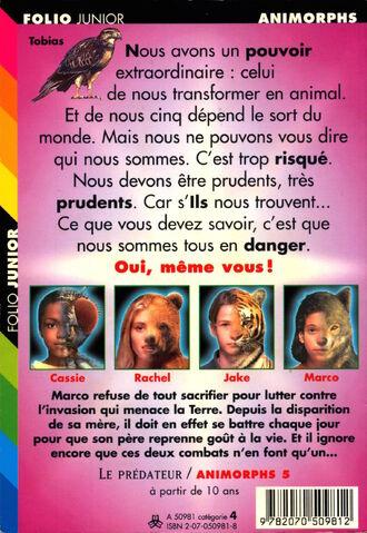 File:Animorphs 5 the predator Le predateur french back cover folio junior.jpg