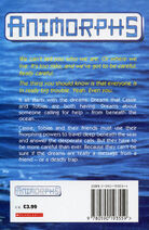 Animorphs 4 the message UK back cover 1997 edition