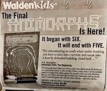 Waldenbooks Waldenkids Animorphs book 54 the beginning advertisement