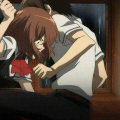 Kouichi knees Yumi, while apologizing.